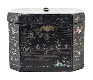 A Black Lacquer Box and Cover Height 11 x width 14 1/2 x depth 10 3/8 inches.