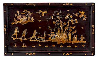 A Rosewood Rectangular Tray Height 14 1/2 x width 24 1/2 inches.