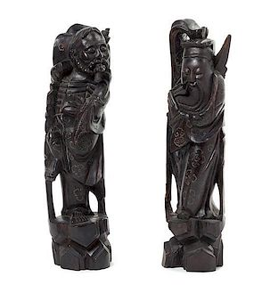 * Two Silver Inlaid Hardwood Figures Height of taller 14 inches.