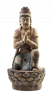 A Polychrome Enameled Wood Figure of Guanyin Height 19 3/4 inches.