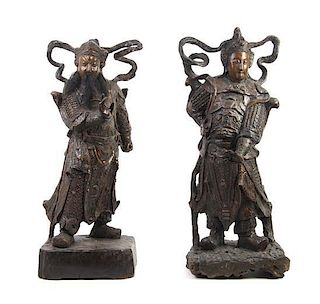 A Pair of Carved Wood Figures of Immortals Height of pair 34 inches.
