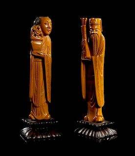 * Two Boxwood Figures of Immortals Height 5 inches.