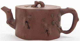 * A Zisha Pottery Teapot Width at widest 7 5/8 inches.
