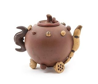 A Yixing Pottery Teapot Height 5 1/4 inches
