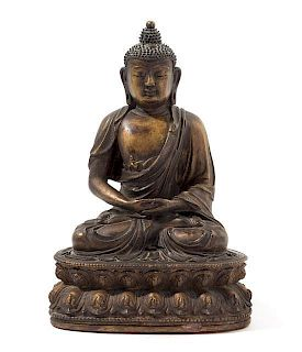 * A Sino-Tibetan Plaster Figure of Buddha Height 10 1/4 inches.