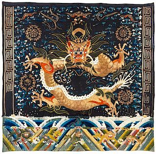 An Embroidered Silk Panel Height 59 x width 60 inches.