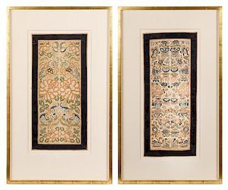 Two Embroidered Silk Panel Height of each panel 22 3/4 x width 9 7/8 inches.