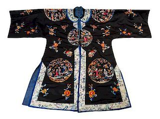 A Embroidered Silk Lady's Informal Robe Length from collar to hem 40 1/4 inches.