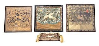 * Four Embroidered Silk Rank Badges Largest 11 1/2 x 11 3/4 inches.