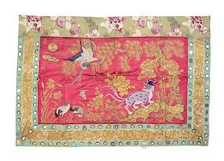 Three Embroidered Textile Panels Height of first 77 x width 23 1/2 inches.