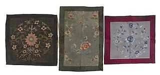 Six Embroidered Silk Panels Height of orange example 39 x width 10 inches.