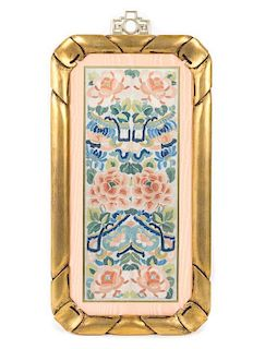 An Embroidered Silk Panel Height of panel 18 1/8 x width 7 1/8 inches.