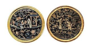 Two Embroidered Silk Panels Diameter overall 10 1/8 inches.