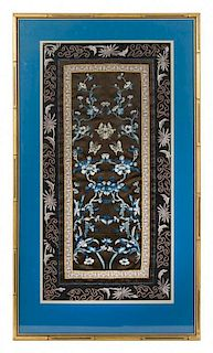 A Embroidered Silk Rectangular Panel Height 26 x width 13 1/4 inches.