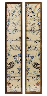 A Pair of Embroidered Silk Rectangular Panels Height 20 5/8 inches.