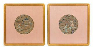 * Two Embroidered Silk Panels Diameter of each 7 1/2 inches.