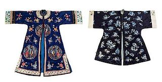 Two Embroidered Silk Lady's Informal Robes Length of longer from collar to hem 45 1/2 inches.
