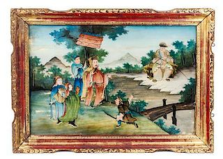 A Reverse Painted Glass Panel Height of image 15 3/4 x width 23 1/2 inches.