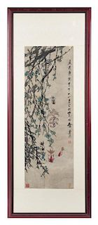 An Ink and Color Scroll Painting on Paper Height 37 7/8 x width 13 inches.