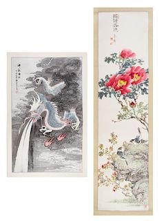 Two Ink and Color Scroll Paintings on Paper Height of larger 50 x width 11 5/8 inches.