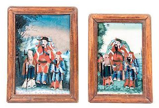 * Two Reverse Painted Glass Panels 11 1/2 x 7 1/8 inches.