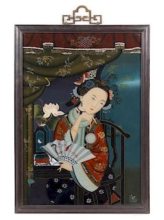 A Reverse Painted Glass Panel Height of image 22 1/2 x width 15 1/4 inches.