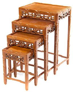 A Set of Four Nesting Tables Height of largest 27 1/2 x width 19 x depth 13 1/2 inches.