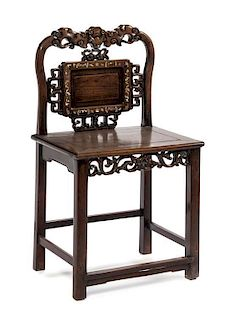* A Mother-of-Pearl Inlaid Hardwood Chair Height 35 1/2 inches.