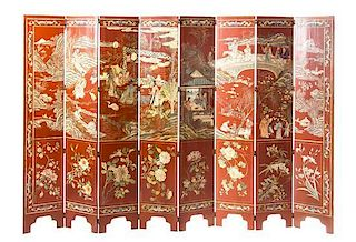* A Lacquered Eight-Panel Floor Screen Height 66 1/2 x width 12 1/2 (each panel).