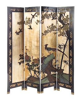 * A Lacquered Four-Panel Floor Screen Height 72 x width 16 (each panel)