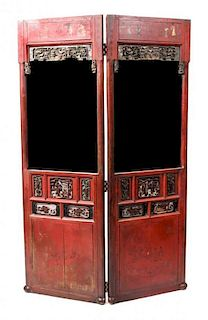 A Parcel Gilt Red Lacquered Two-Panel Floor Screen Height 76 1/4 x width 49 x depth 2 inches.