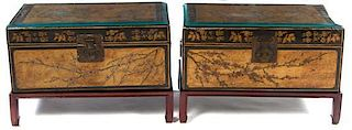 A Pair of Lacquered Chests Height with stand 16 x width 24 1/4 x depth 16 inches.