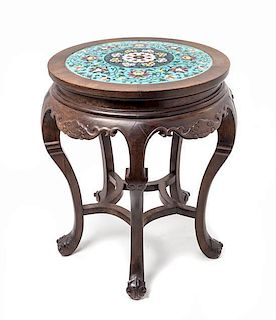 A Cloisonne Inset Rosewood Stool Height 20 x diameter 16 1/2 inches.