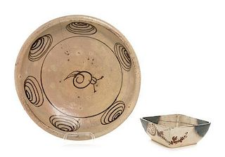 * Two Japanese Oribe Ware Articles Height of larger 4 x diameter 14 inches.