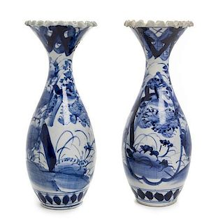 A Pair of Japanese Blue and White Porcelain Vases Height 10 1/8 inches.