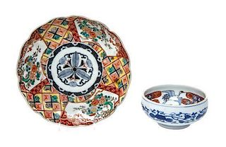 * Two Japanese Imari Porcelain Articles Diameter of larger 8 1/2 inches.