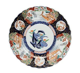 A Large Japanese Imari Porcelain Charger Diameter 14 1/2 inches.