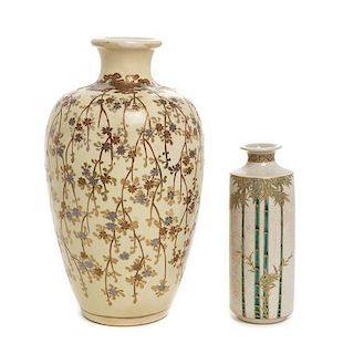 * Two Satsuma Earthenware Vases Height 10 x width 5 1/2 inches.