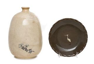 * A Japanese Crackle Glazed Pottery Bottle Jar Height of larger 7 inches.
