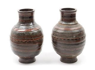 * A Pair of Ceramic Vases Height 12 x width 8 inches.