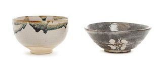 * Two Japanese Pottery Bowls Height of larger 2 x diameter 4 3/4 inches.