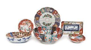 Six Japanese Imari Porcelain Articles Diameter of largest 9 1/8 inches.