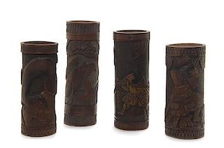 * Four Japanese Brush Pots Height of tallest 14 1/2 inches.