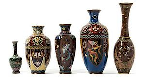 Five Japanese Cloisonne Vases Height of tallest 10 1/4 inches.