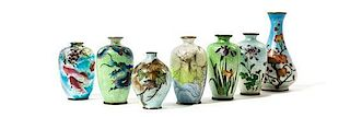 Seven Small Japanese Cloisonne Vases Height of tallest 4 3/4 inches.