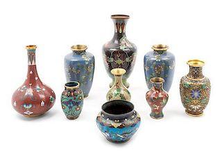 Nine Japanese Cloisonne Enamel Vases Height of tallest 9 inches.