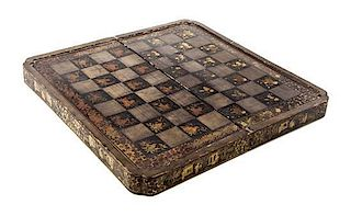 * A Japanese Lacquered Game Box Width 19 1/2 inches.