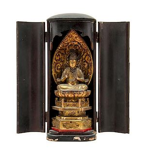 * A Japanese Giltwood Buddha Height overall 12 1/2 inches.