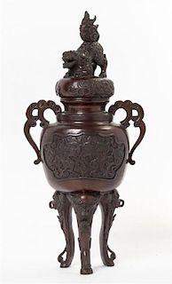 A Japanese Bronze Censer, Koro Height 17 1/4 inches.