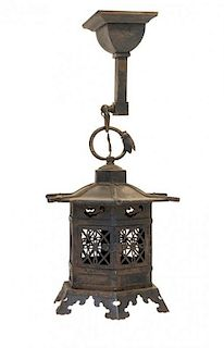 A Japanese Cast Metal Lantern Height 11 3/4 inches.
